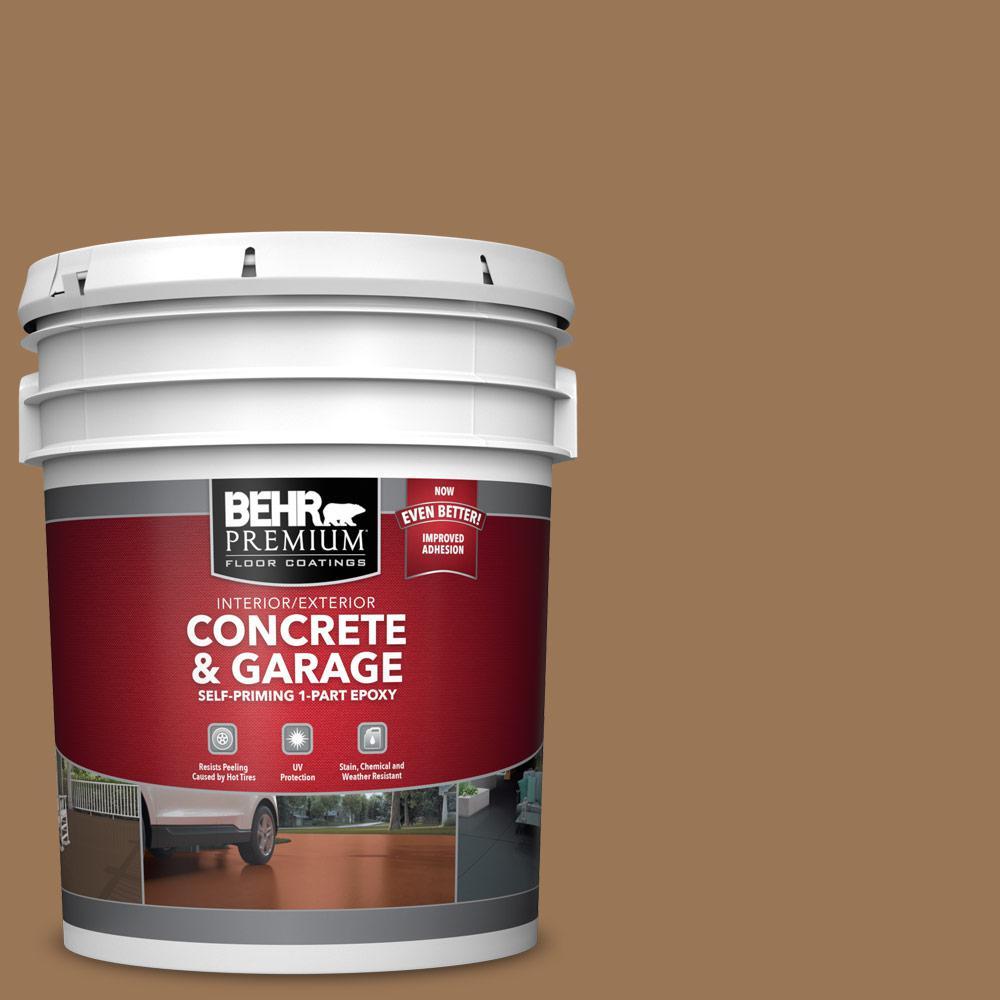 BEHR PREMIUM 5 gal. #PPU4-02 Coco Rum Self-Priming 1-Part Epoxy Satin Interior/Exterior Concrete and Garage Floor Paint