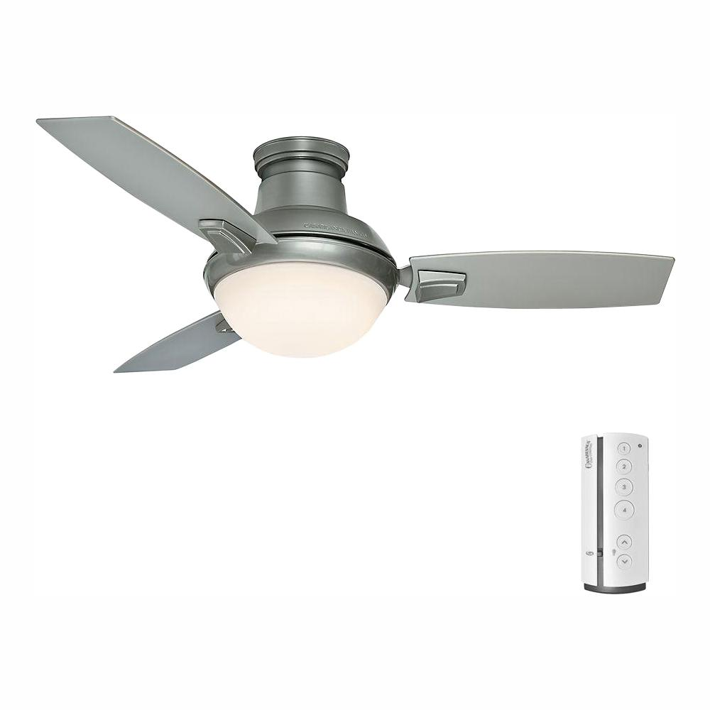 Casablanca Verse 44 in. LED Indoor/Outdoor Satin Nickel Ceiling Fan with Light Kit and Universal Remote