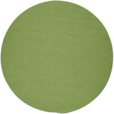 Joy Braids Solid Lime 6 ft. x 6 ft. Round Indoor/Outdoor Braided Area Rug