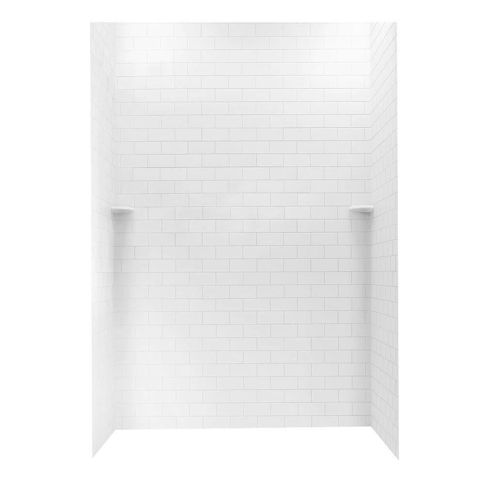 Tile Look Shower Surround.36 In X 62 In X 96 In 3 Piece Solid Surface Subway Tile Easy Up Adhesive Alcove Shower Surround In White