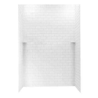 36 in. x 62 in. x 96 in. 3-piece Solid Surface Subway Tile Easy Up Adhesive Alcove Shower Surround in White