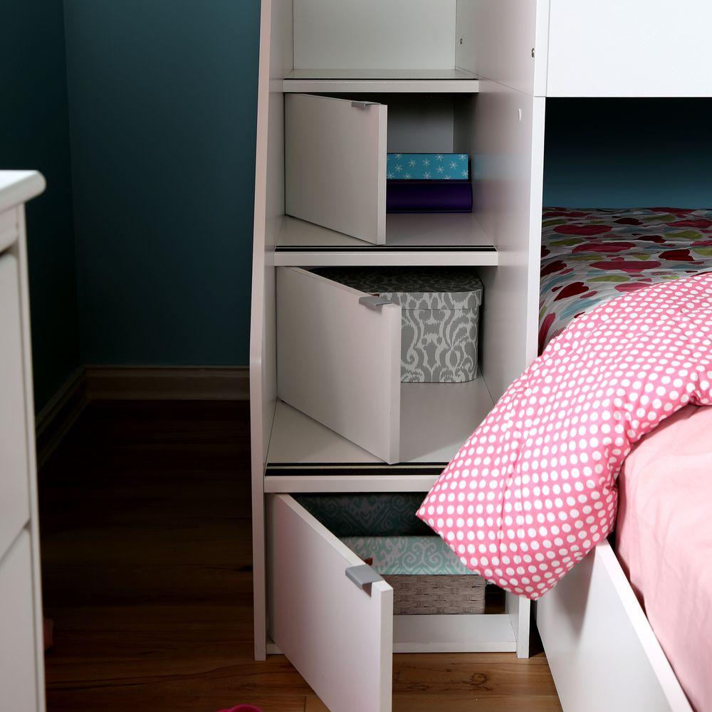 South Shore Mobby Twin Wood Kids Loft Bed, Pure White