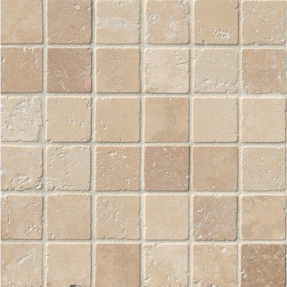 Chiaro 12 in. x 12 in. x 10 mm Tumbled Travertine Mesh-Mounted Mosaic Tile (10 sq. ft. / case)