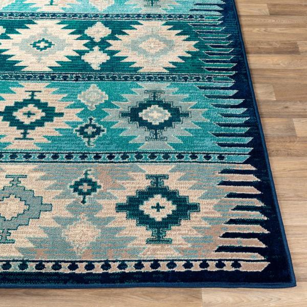 Artistic Weavers Mirta Blue 6 Ft 7 In X 9 Ft 6 In Native American Area Rug S00161027176 The Home Depot
