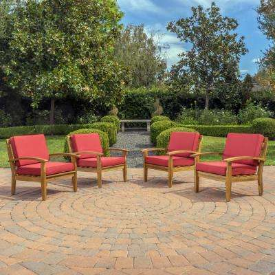 Galilea Deep Seating Wood Outdoor Lounge Chair with Red Cushions (4-Pack)