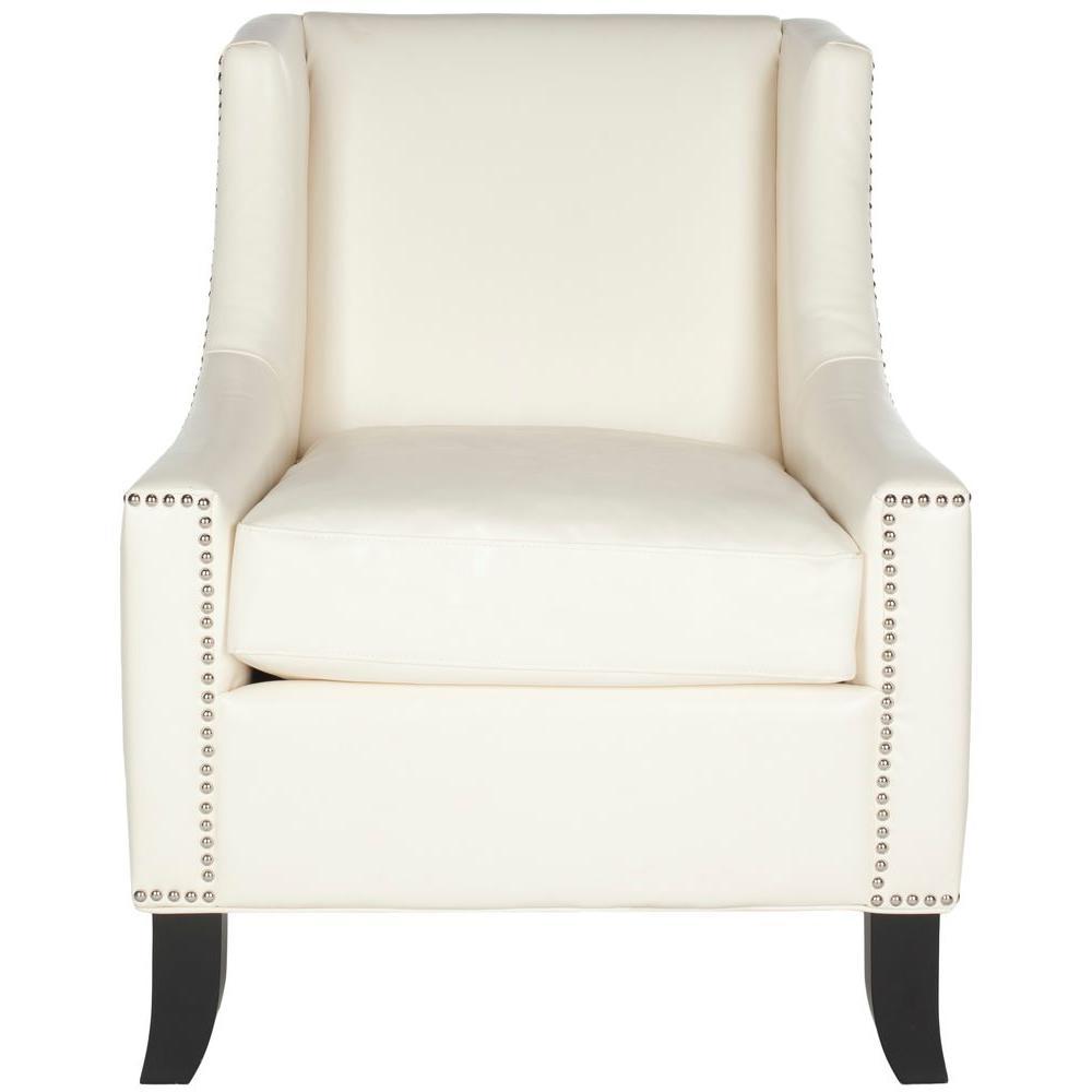Daniel Antique White/Black Leather Club Arm Chair