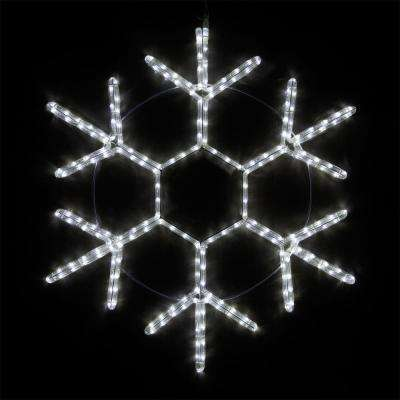 24 in. 138-Light LED Cool White 18 Point Hanging Snowflake Decor