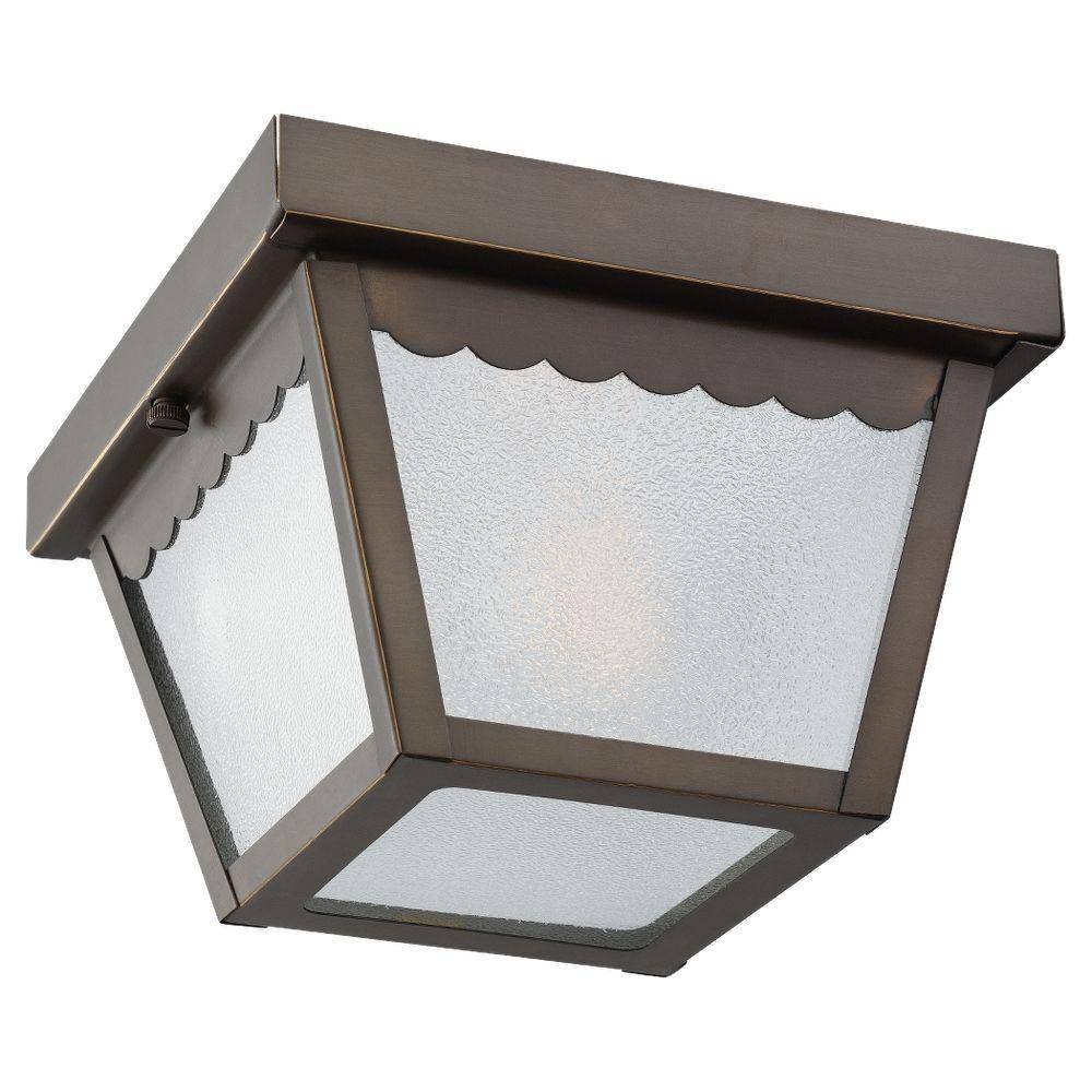1-Light Outdoor Antique Bronze Ceiling Fixture