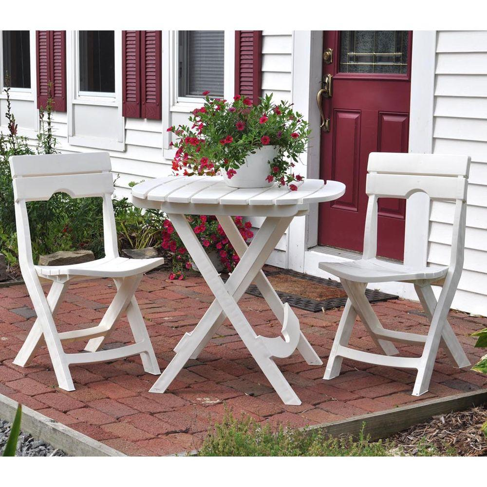 Excellent Adams Manufacturing Quik Fold White 3 Piece Resin Plastic Outdoor Bistro Cafe Set Pabps2019 Chair Design Images Pabps2019Com