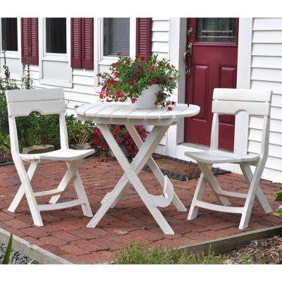 Quik-Fold White 3-Piece Patio Cafe Set