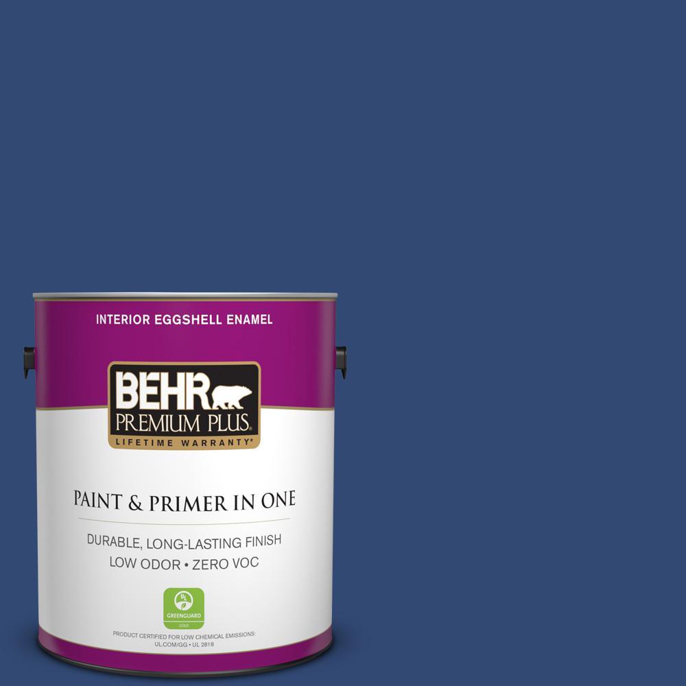 BEHR Premium Plus 1-gal. #S-H-590 Sailboat Zero VOC Eggshell Enamel Interior Paint