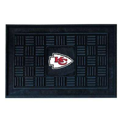 NFL Kansas City Chiefs Black 19 in. x 30 in. Vinyl Outdoor Door Mat