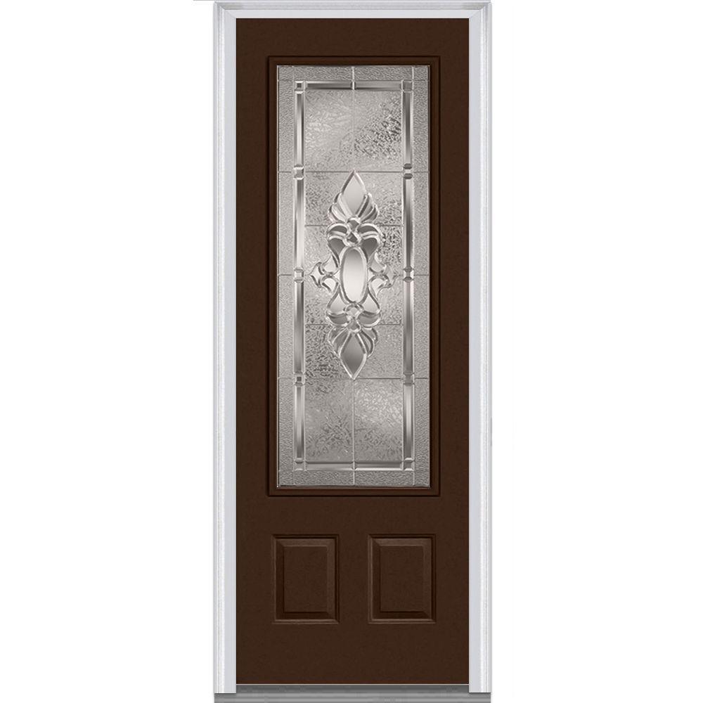 36 in. x 96 in. Heirloom Master Left-Hand Inswing 3/4-Lite Decorative Painted Fiberglass Smooth Prehung Front Door