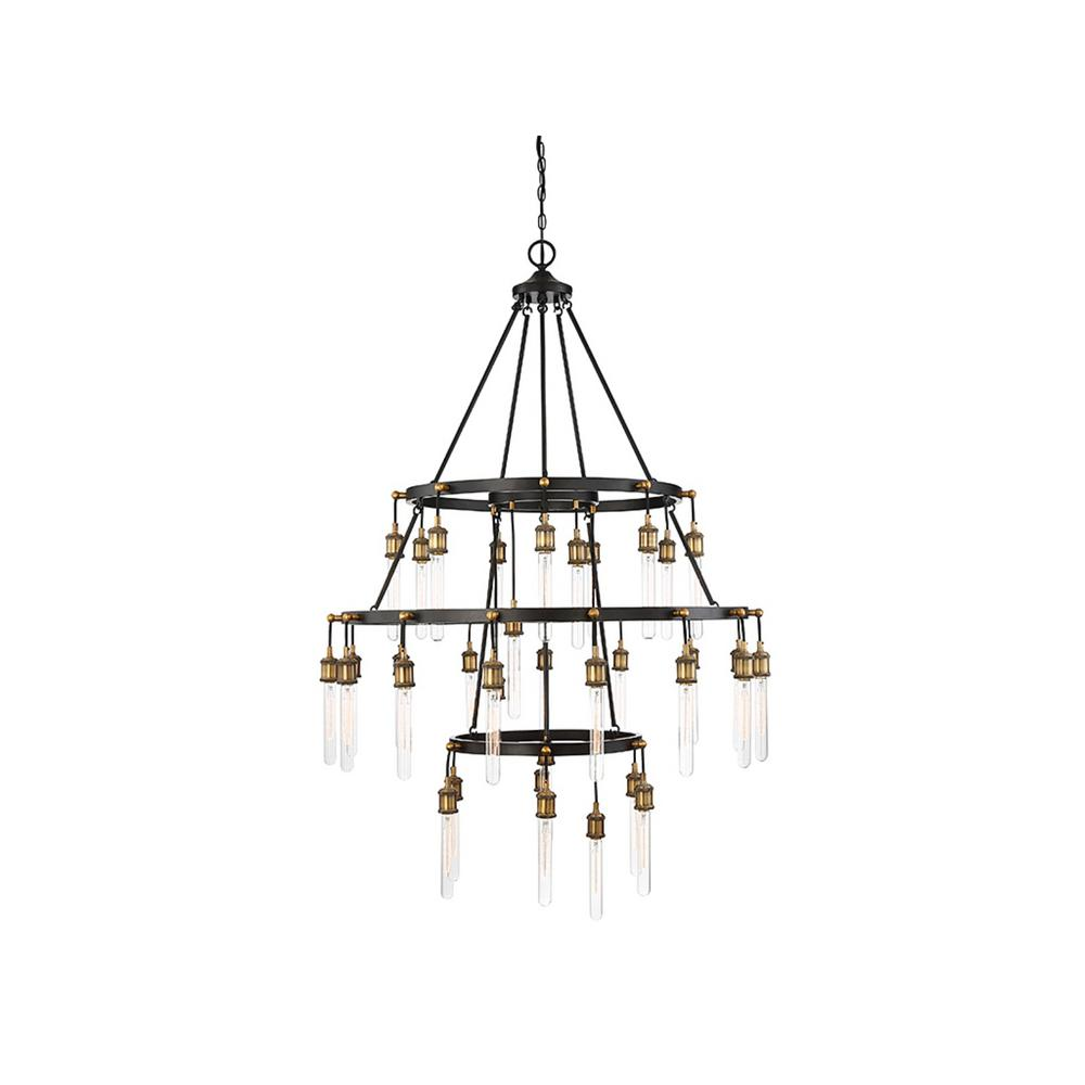 Filament Design 35-Light Vintage Black with Warm Brass Chandelier