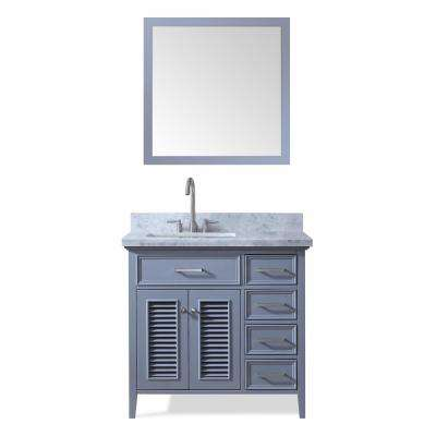 Kensington 37 in. Bath Vanity in Grey with Marble Vanity Top in Carrara White with White Basin and Mirror