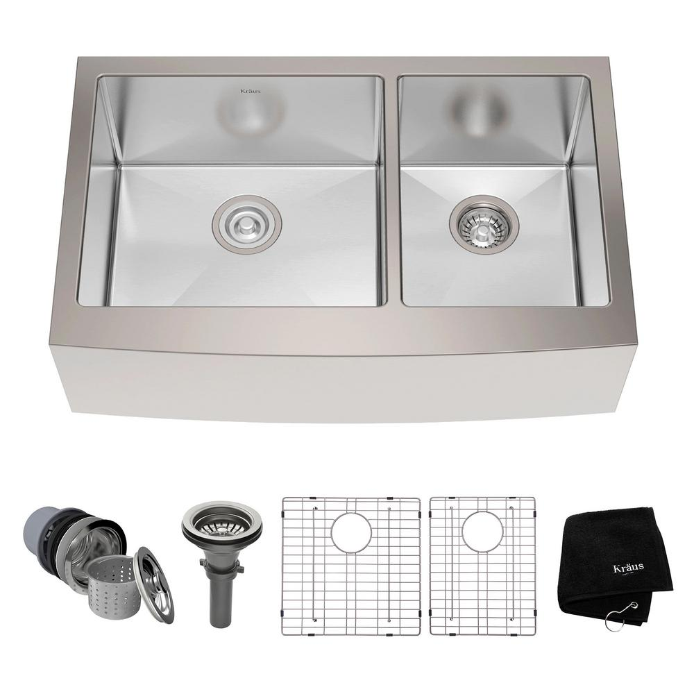 Beautiful KRAUS Farmhouse Apron Front Stainless Steel 33 In. Double Bowl Kitchen Sink  Kit KHF203 33   The Home Depot
