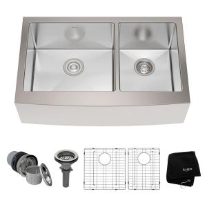 Kraus Farmhouse Apron Front Stainless Steel 33 inch Double Bowl Kitchen Sink Kit by KRAUS