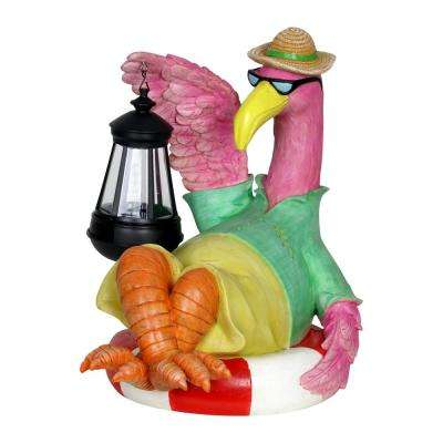 Solar Flamingo with Lantern Statue