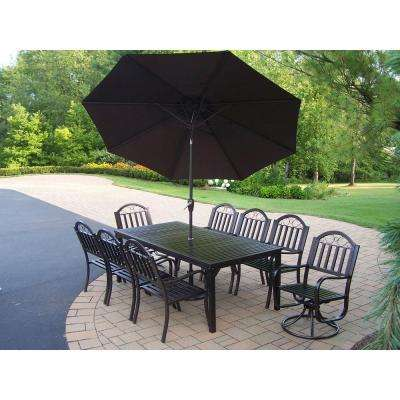 Rochester 9 Piece Patio Dining Set With Umbrella In Brown