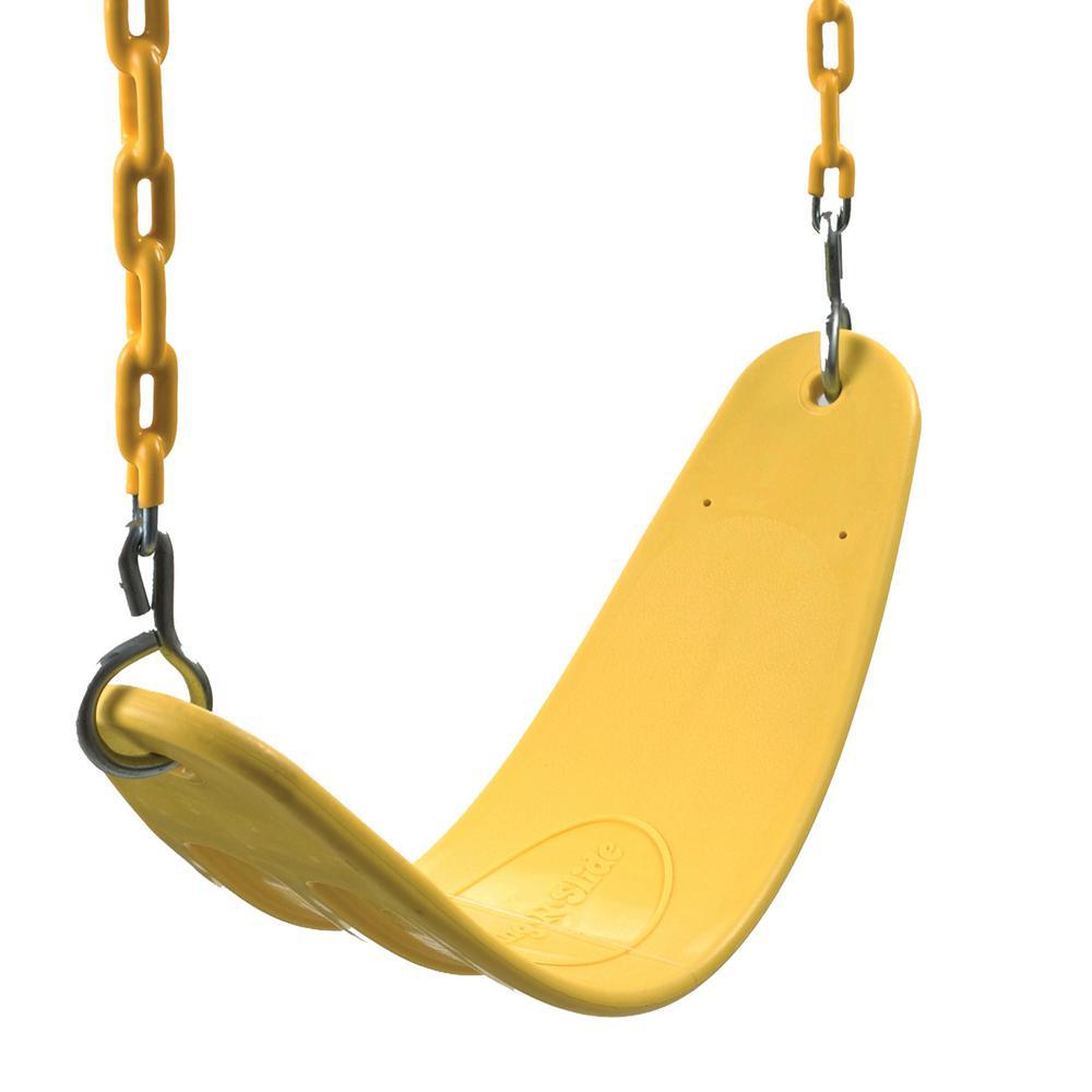 Yellow Heavy-Duty Belt Swing Seat with Yellow Chain