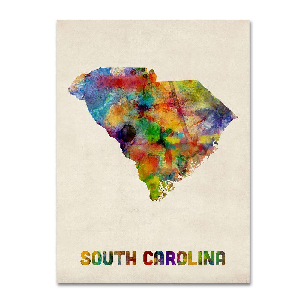 14 in. x 19 in. South Carolina Map Canvas Art