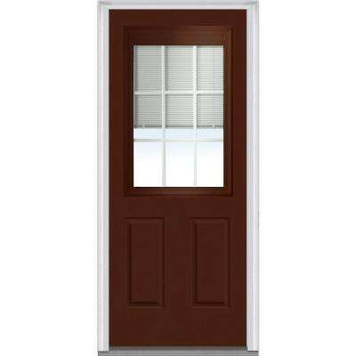 36 in. x 80 in. Internal Blinds and Grilles Left-Hand 1/2 Lite 2-Panel Classic Painted Steel Prehung Front Door