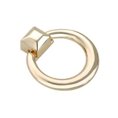 "Utopia Alley Anello Ring Cabinet Pull, Polished Gold, 1.6"" x 1.9"""