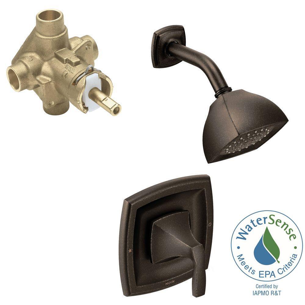 Moen voss single handle 1 spray positemp shower faucet - Moen rubbed bronze bathroom faucets ...