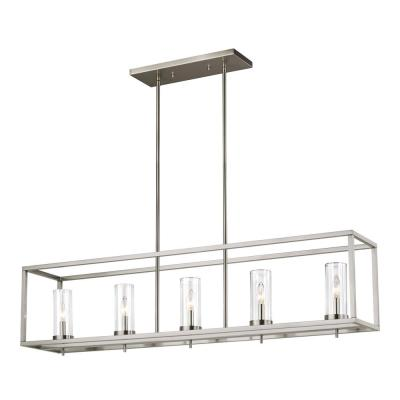 Zire 5-Light Brushed Nickel Island Pendant with Clear Glass Shades