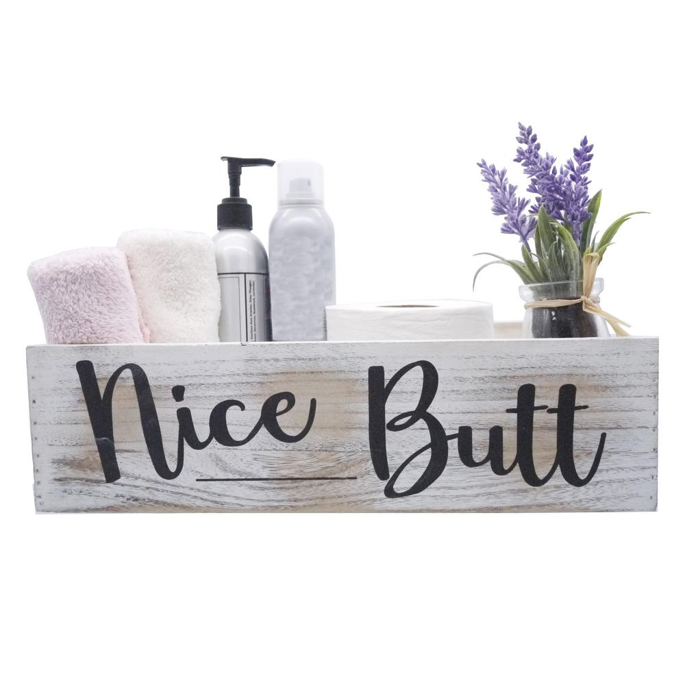 Forart Nice Butt Bathroom Decor Box Toilet Paper Holder Storage Funny Gift Wooden Bathroom Box Farmhouse Rustic Wood Crate Home Decor for Home Kitchen and Bedrooms