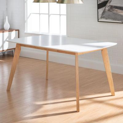 "60"" Mid Century Modern Wood Dining Table  - White/solid wood"