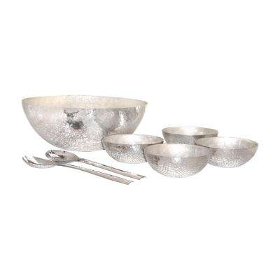Reef Assorted Size Decorative Salad Bowl Set in Hammered Aluminum and Pearl (6-Piece)