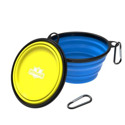 32 oz. Silicone Collapsible Pet Food Bowls in Blue and Yellow