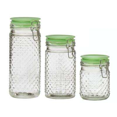 Emma Jade Hobnail 3-Piece Glass Hermetic Canister Set with Jadeite Lids
