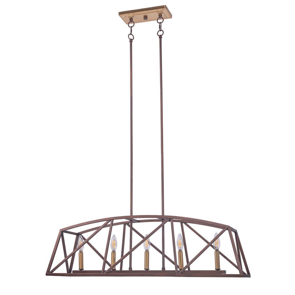 5-Light Bronze Candle Style Kitchen Island Linear Pendant