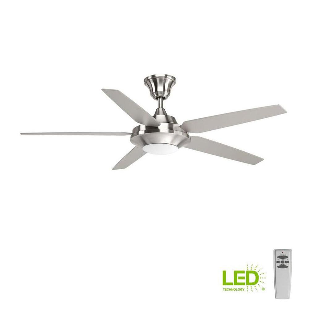 Progress Lighting Signature Plus Ii Collection 54 In Led Indoor Brushed Nickel Modern Ceiling Fan