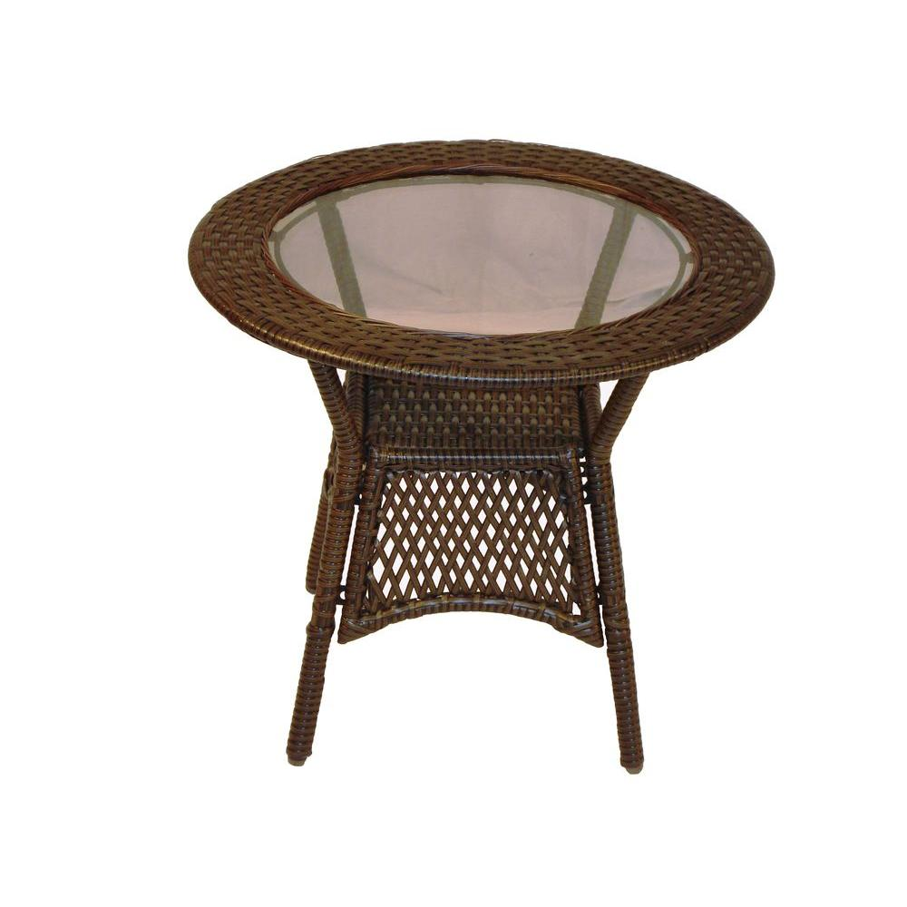 Oakland Living Elite Resin Wicker Round Patio Side Table