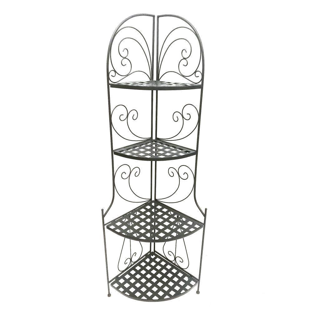 Black Foldable Metal Corner Bakers Rack with Grid Pattern Shelves