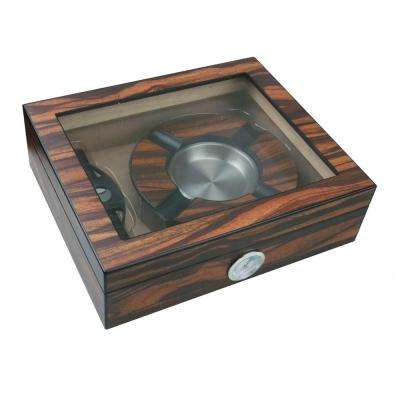 Eiger Small Glasstop Humidor, Ashtray and Cutter Gift Set