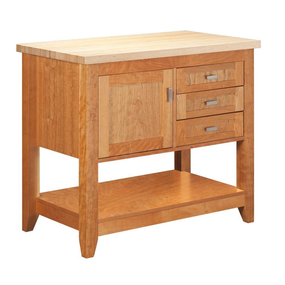 Strasser Woodenworks Tuscany 42 in. Kitchen Island in Natural Cherry with Maple Top