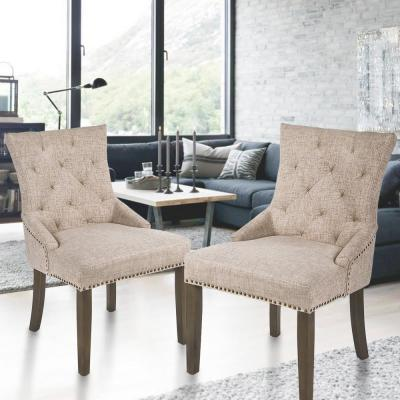 Beige Dining Chair Leisure Padded Chair with Armrest, Nailed Trim( Set of 2)