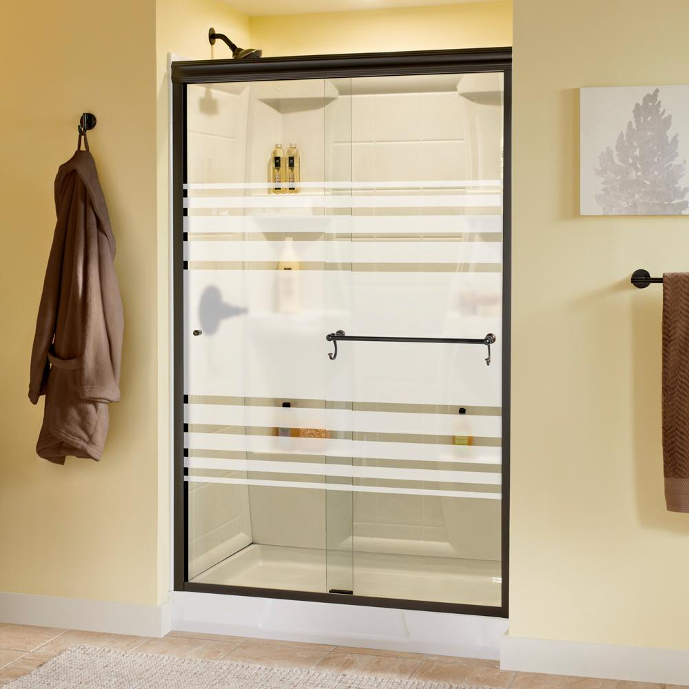 Delta Portman 48 in. x 70 in. Semi-Frameless Traditional Sliding Shower Door in Bronze with Transition Glass was $459.0 now $339.0 (26.0% off)