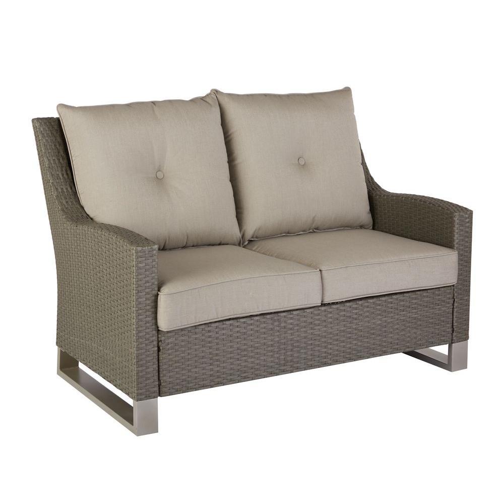 Broadview Patio Loveseat with Sunbrella Spectrum Dove Cushions