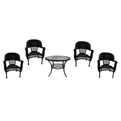 5-Piece Black Resin Wicker Patio Dining Set Table and 4 Chairs