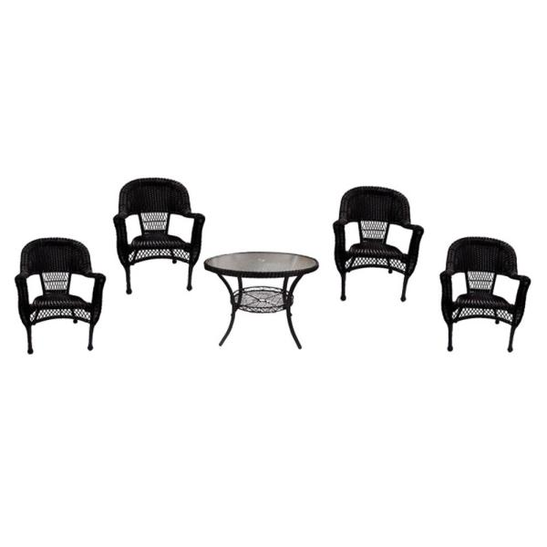 Lb International 5 Piece Black Resin Wicker Patio Dining Set Table And 4 Chairs