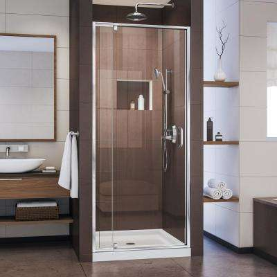 Flex 36 in. x 36 in. x 74.75 in. Framed Pivot Shower Kit Door in Chrome with Center Drain White Acrylic Base