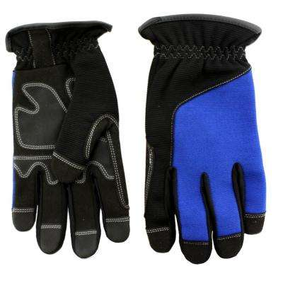 Blue Synthetic Leather Palm with Spandex Back