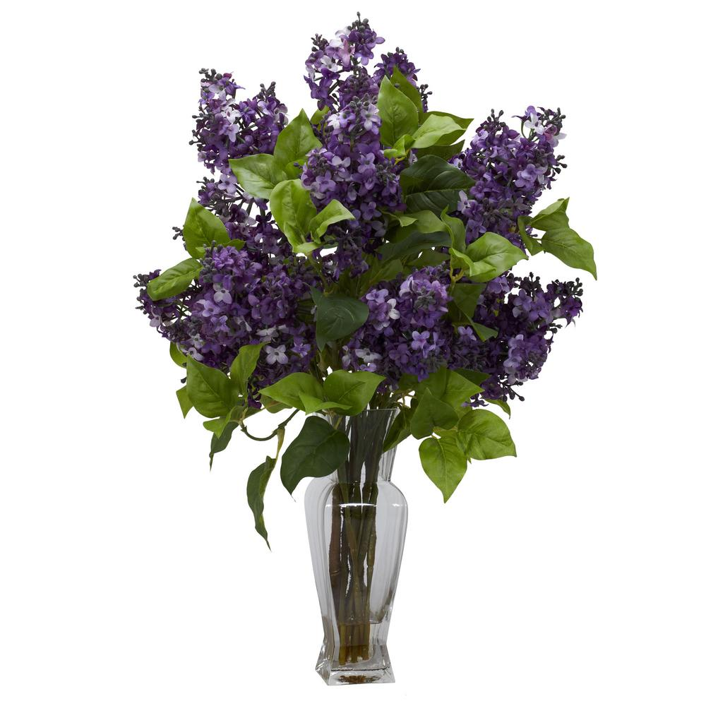 Nearly Natural 24 In Lilac Silk Flower Arrangement In Purple 1256 Pp The Home Depot