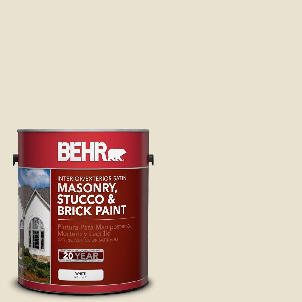 Acrylic Vs Latex Paint >> BEHR Premium 1-gal. #MS-33 Eggshell White Satin Interior/Exterior Masonry, Stucco and Brick ...