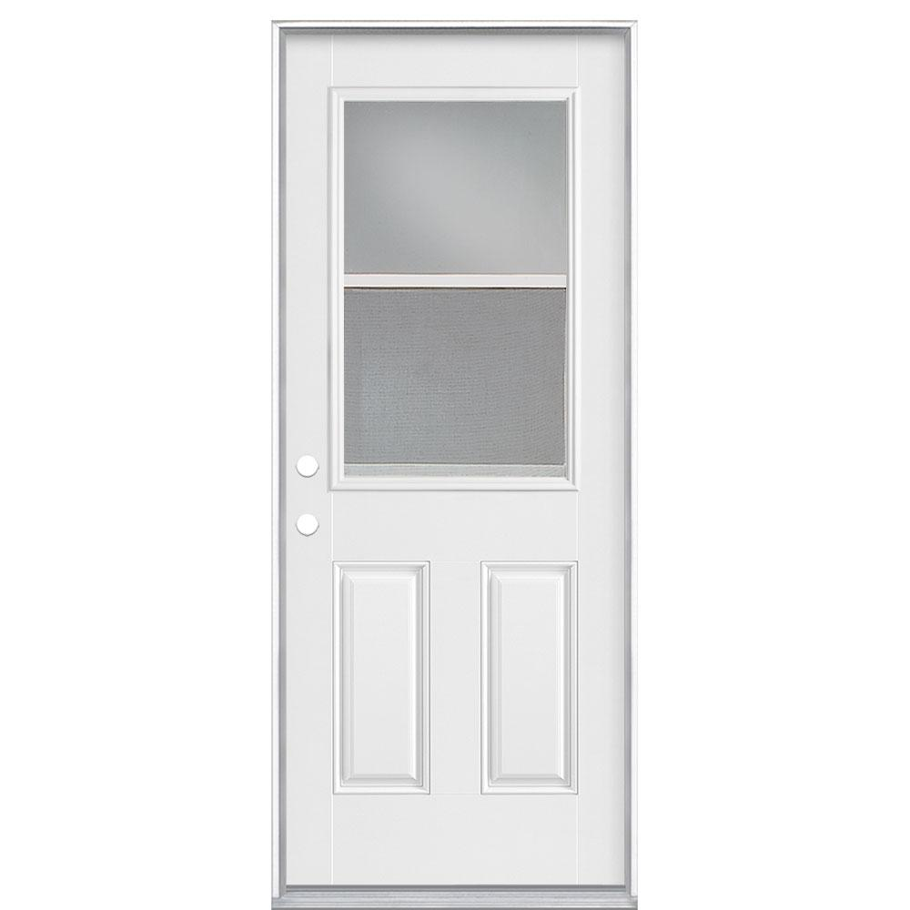 Masonite 32 In X 80 In Vent Lite Right Hand Inswing Primed Smooth Fiberglass Prehung Front Exterior Door No Brickmold 86851 The Home Depot